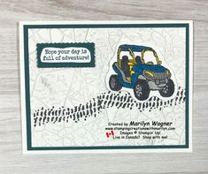 """When your Grandson is celebrating his birthday and he owns a blue Razr like this one, I just knew that I had to make this card for him! He loves getting muddy as he """"rides the trails"""" and I'm sure he has often had the """"Pedal to the Metal""""! Boy Cards, Kids Cards, Men's Cards, Grandson Birthday Cards, Birthday Cards For Men, Metal Stamping, Stamping Up Cards, Mosaic Mirrors, Mosaic Art"""