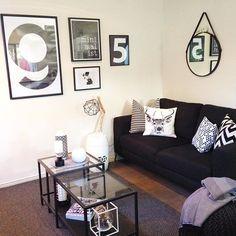 Ikea 'Vittsjö' nesting tables in back & white living room
