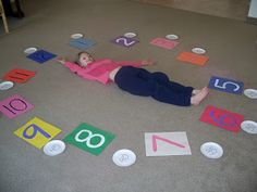 Hands On Math - time. Also, number recognition and number hopscotch for my preschoolers. Great way to move and learn! Math Games, Learning Activities, Kids Learning, Activities For Kids, Teaching Time, Teaching Math, Math Classroom, Kindergarten Math, Preschool