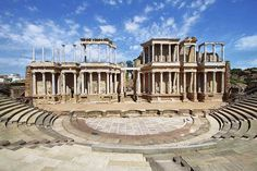 The Roman Theatre (Teatro Romano) at Merida by estivillml. The Roman Theatre (Teatro Romano), Merida, Extremadura (Spain) Best Cities In Spain, Pompeii Ruins, Roman Theatre, Roman Architecture, Ancient Architecture, Europe Holidays, Famous Landmarks, Ancient Ruins, Ancient Art