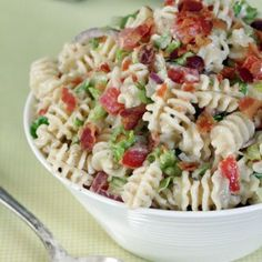 Try Ranch BLT Pasta Salad! You'll just need 8 ounces radiatore pasta (or another type of medium-sized pasta), 1 bottle Hidden Valley® Original Ranch® Salad...