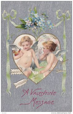 VALENTINE´S DAY: Message, Cupids with butterfly in heart shaped frame, bouquet…