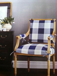 An overscale blue and white plaid slipcover for a traditional Louis frame chair- LOVE!
