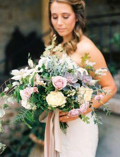romantic pastel bouquet with succulents