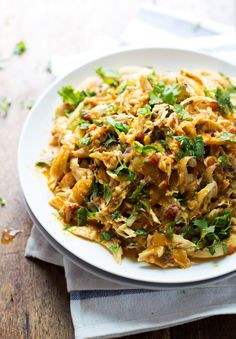 Spicy Chipotle Shredded Chicken - saucy, flavorful chicken that works in tacos, salads, nachos, and more! 190 calories. | pinchofyum.com