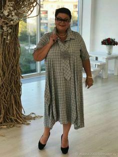 Купить или заказать Платье в интернет-магазине на Ярмарке Мастеров. Укорочённое платье 'Ромашка' в стиле БОХО. Состав ткани: хлопок. В комплекте съемный галстук с ромашкой. Размер 52-64. Цена 6800 руб.