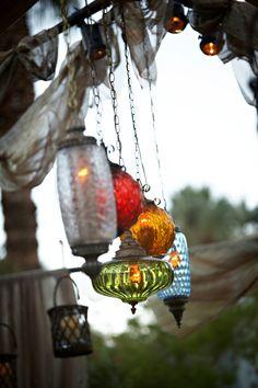 hanging lantern, candles, lighting design, la event planner, event design