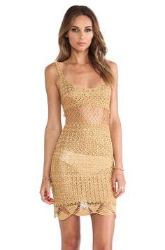 Lisa Maree The Left Turn Crochet Mini Dress in Gold