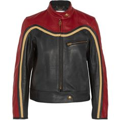 Chloé Paneled leather biker jacket (107,500 PHP) ❤ liked on Polyvore featuring outerwear, jackets, chloe, red, real leather jackets, leather moto jackets, leather jackets, vintage leather jacket and biker jackets