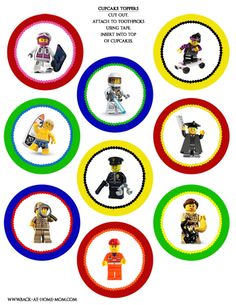 Lego Birthday Party Printables - Lots of great party supplies!  Lego cupcake toppers