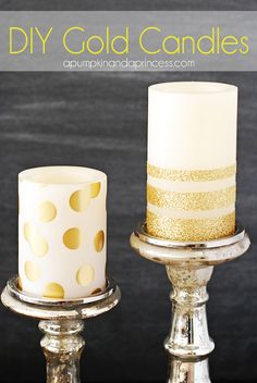 DIY Gold Candles, #glamnursery #brattdecor