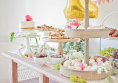Baby's First Birthday Bohemian Backyard Party - macrame runner dessert bar with cupcakes and a naked cake