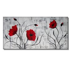 Red Poppies II - acrylic painting 100x50cm - texture, abstract, flowers, Spatula