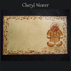 Gingerbread with Red Berry Vine Handpainted  by cherylweaver