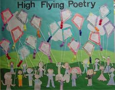 Cute display idea for wind poems Easter Bulletin Boards, Reading Bulletin Boards, Classroom Bulletin Boards, Classroom Ideas, 4th Grade Writing, Kindergarten Writing, Kids Writing, Fourth Grade, Second Grade