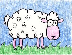 A simple cartoon sheep to draw. Art Projects for Kids
