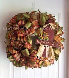 Fall Wreath Fall Scarecrow Wreath by CharmingBarnBoutique on Etsy