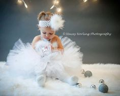 Winter Wonderland Tutu set- baby to toddler- sewn tutu- tutu and headband. $55.00, via Etsy.