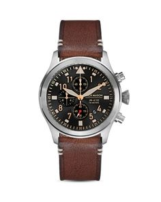 Jack Mason Aviation Brown Leather Strap Chronograph, In Black Leather Men, Brown Leather, Black Aviators, Brown Band, Stainless Steel Watch, Natural Leather, Cool Watches, Timeless Fashion, Chronograph