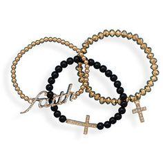 Faith and Cross Bracelets - set of 3