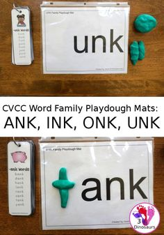 Free CVCC Word Family Playdough Mats: ANK, INK, ONK, UNK - 3Dinosaurs.com #3dinosaurs #handsonlearning #learningtoread #cvcc #firstgrade #secondgrade Word Family Activities, Phonics Activities, Language Activities, Learning Activities, Kindergarten Language Arts, In Kindergarten, Speech Language Therapy, Speech And Language, Teaching Reading