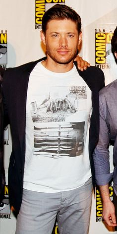 Jensen looking very delectable...I'd love to know the meaning of that t-shirt! #SDCC14