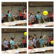 Students were on two teams. We practiced the names of sports and sports equipment. The first team starts by saying one of our new words and volleying the balloon to the other team. The other team h…