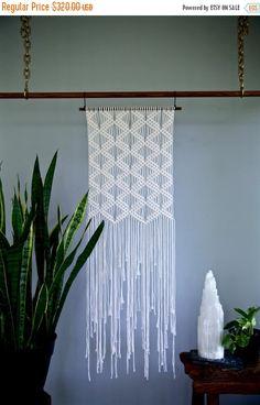 "Sale 20% Off Macrame Wall Hanging - Natural White Cotton Rope 18"" Dowel - Art Deco Diamond Pattern - Boho Home Decor - READY TO SHIP"