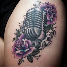 Microphone Rose Tattoo Purple and Blue Roses Old School Tattoo Evermore Tattoos in Edwardsville IL By Angie Meuth