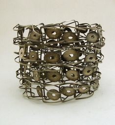 """Sterling """"stretchy"""" bracelet by renowned Swiss designer Sonia Morel; about 2-1/4"""" wide; inside diameter approximately 2-1/4"""" (stretches, but fits best on a small wrist); marked """"925."""""""