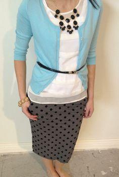Polka dot skirt and mixing of gray/black and powder blue - super cute! No belt