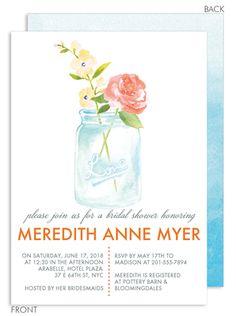 Watercolor Mason Jar Invitations