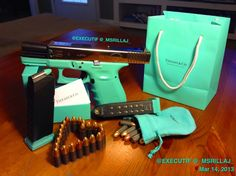Tiffany Co GLOCK! I need this in my life! I would say yes to any man that proposed to me with a Tiffany & Co.... Gun.
