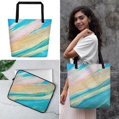matching tote and laptop case 💛 there are not enough hearts for this Textile Prints, Laptop Case, Beach Trip, Abstract Art, Reusable Tote Bags, Hearts, Tropical, Heart