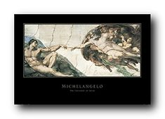 Accentuate the charm of your living room with this wonderful Michelangelo the Creation of Adam picture fine art print poster. This wonderful wall art captures the image which illustrates the Book of Genesis story of God breathing life into Adam, the first human being. Hang this wonderful poster in your living room and get ready to get compliments from those who visit your home. Discover the uniqueness of this poster and make your order today for its durable quality and excellent color…