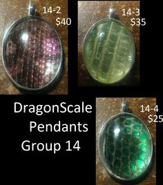 These are created from natural shed reptile skin, from an argentinian black and white tegu and a ball python. I take their sheds, sanitize them, stretch them, then add coloring and encase them under glass cabochons, in metal pendant trays.