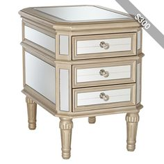 Selina Gold 3-Drawer Mirrored Accent Table