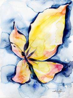 """Abstract Butterfly Watercolor Painting, Pink, Yellow, Insect bug art """"Butterfly Fantasy 3"""" by Kathy Morton Stanion EBSQ"""