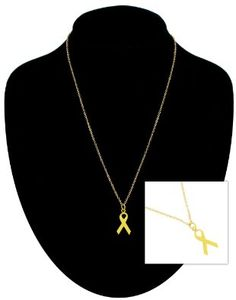 """Amazon.com: Pendant Necklace Yellow Support Our Troops Ribbon Gold Pl Chain 18"""" Ky & Co: Ky & Co: Jewelry"""