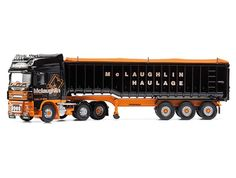 Corgi 1:50 DAF XF Diecast Model Lorry CC14119 This DAF XF Bulk Tipper Diecast Model Lorry is Black and Orange and features working wheels. It is made by Corgi and is 1:50 scale (approx. 27cm / 10.6in long).    Working with many local fish farms McLaughlin Haulage specialises in transporting cargo across the Western islands of Scotland to the mainland.  The Company offers a range of haulage services and has a fleet of trailers comprised of Bulkers, Low Loaders, Flatbeds, Curtainsides, 47ton…