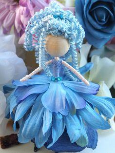 Flower fairy doll all in blue