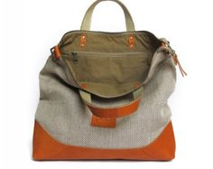 Linen and Leather handbag with zipper SALE handbag purse - women messenger bag - leather crossbody bag office bag leather shoulder bag