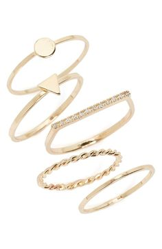 Mix, match and stack this set of five slim rings to create a look that's all original.