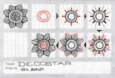Decostar - tangle pattern, a photo by perfectly4med on Flickr.This one is reminiscent of UK police force badges... Makes a great centrepiece for a tangle. I found drawing the rays from the centre h...