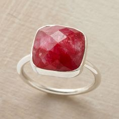 CHERRIES JUBILEE RING -- A checkerboard cushion cut lets this deep red sillimanite flicker most intriguingly in the light. Set in sterling silver with a brushed finish. Imported. Whole sizes 6 to 9.
