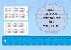 2017 Calendars Printable Mini, Wallet  Pocket  Card size, PDF File, 2017 calendar, calendars, Digital Download, Printable, Instant Download,
