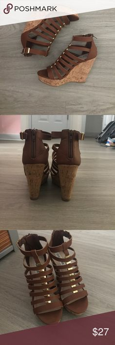 Steve Madden Wedges Absolutely no wear. Perfect condition. Too small for me Steve Madden Shoes Wedges