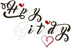Happy Birthday Black and White PNG Transparent Clip Art Image