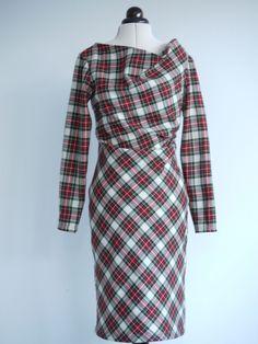 #Tartan drape dress