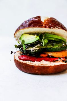 Grilled Veggie Sandwich with Whipped Red Pepper Feta - Sandwiches & Wraps - Vegetarian Sandwich Recipes, Easy Sandwich Recipes, Veggie Sandwich, Healthy Recipes, Delicious Recipes, Easy Recipes, Baked Beetroot, Roasted Red Pepper Dip, Homemade Veggie Burgers